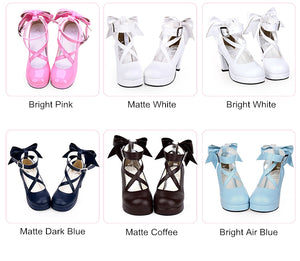 Puella Magi Madoka Magica Cosplay Shoes Japanese Style Anime Lolita Shoes High Heels Bowknot Girls Princess