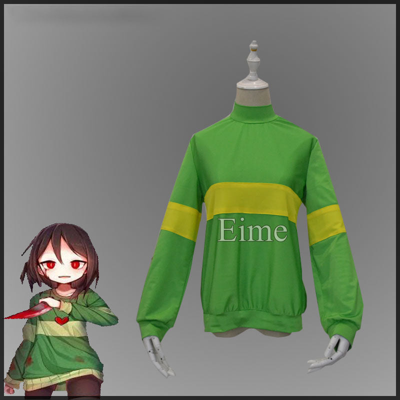 Undertale Chara Frisk Cosplay Costume Sweatshirts Casual Pullover High collar Long Sleeve