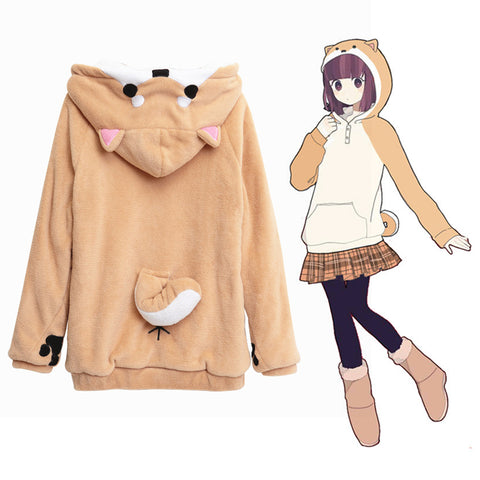 Harajuku Japanese Kawaii Doge Women Hoodies Sweatshirts Casual Jacket