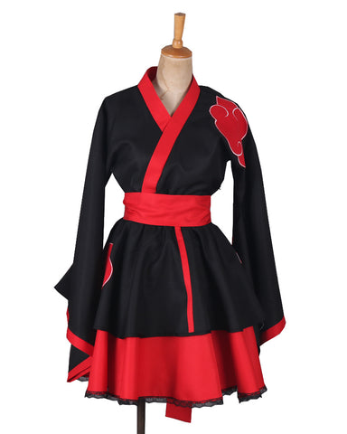 Naruto Shippuden Akatsuki Female Lolita Kimono Dress Anime Cosplay Costume