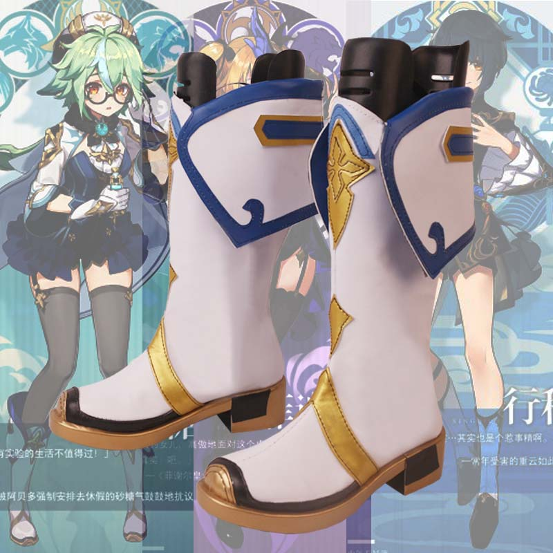 Game Genshin Impact Cosplay Shoes High Heel Boots Customize Size