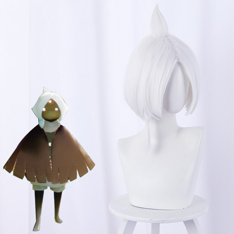 Game Sky:Children of Light Cosplay Wig Initially New Anime Cosplay Hair 35cm White Short Wig Hair Game