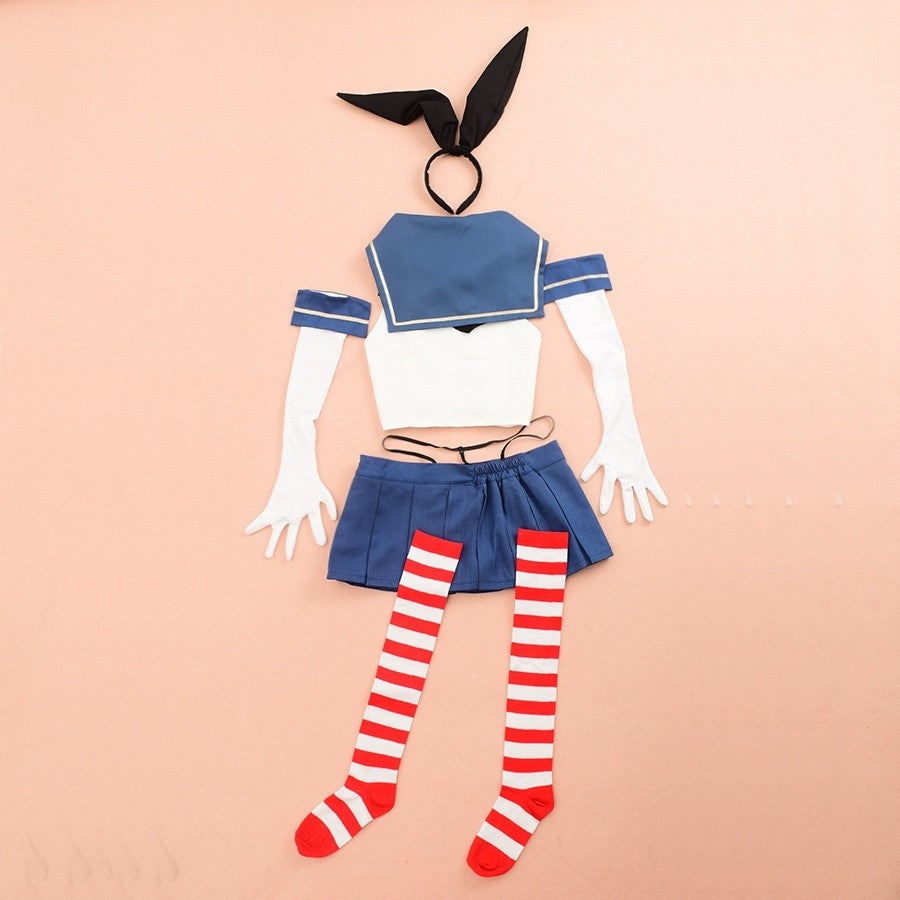 Kantai Collection Cosplay Shimakaze Costume Sexy Sailor Suit Full Uniform with Headwear Socks