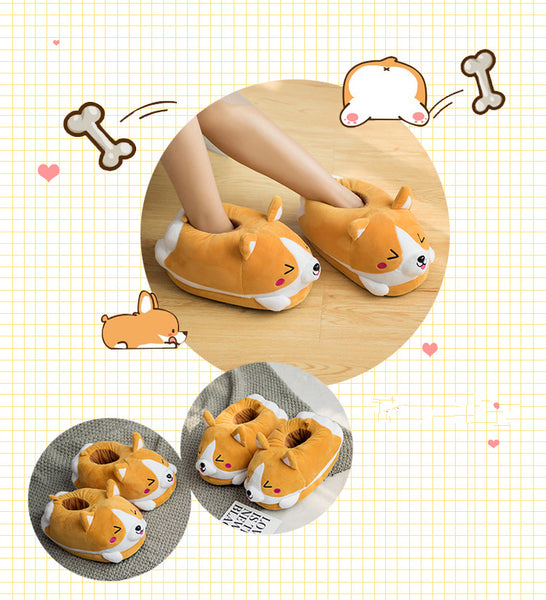 Cute Welsh Corgi Dog Slippers Winter Lovely Cotton-Padded Indoor Doge Plush Slippers