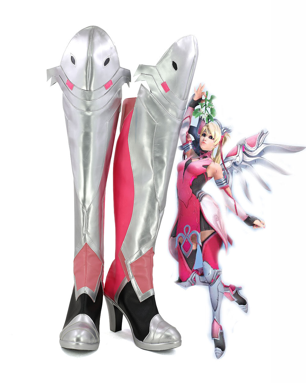 OW Mercy Angela Ziegler Pink Skin Cosplay Boots Shoes Custom Made