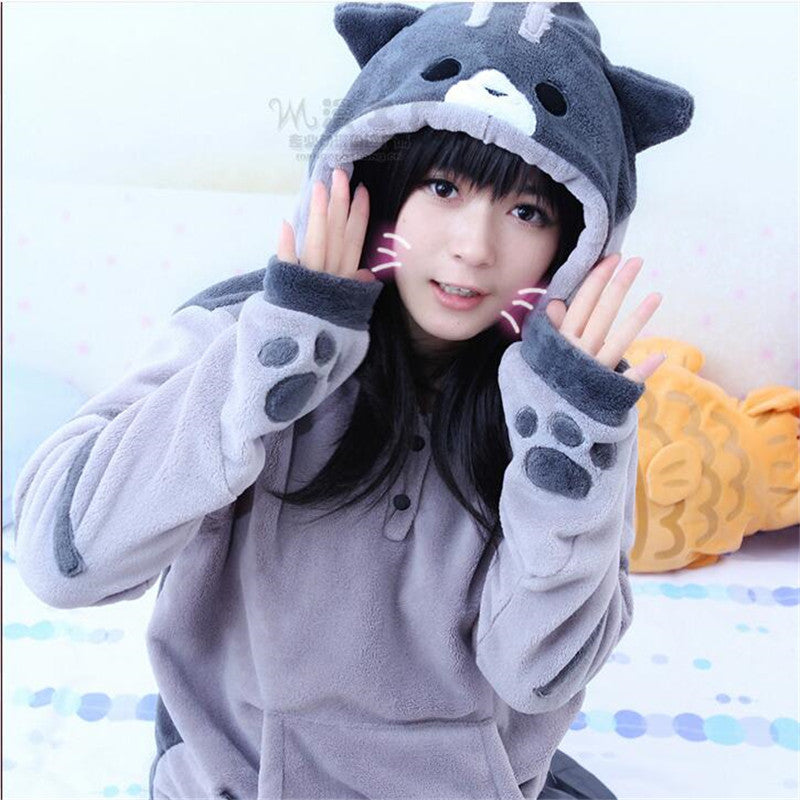 Neko Atsume Kawwii Cosplay Costume Cute Cat Hoodies ...