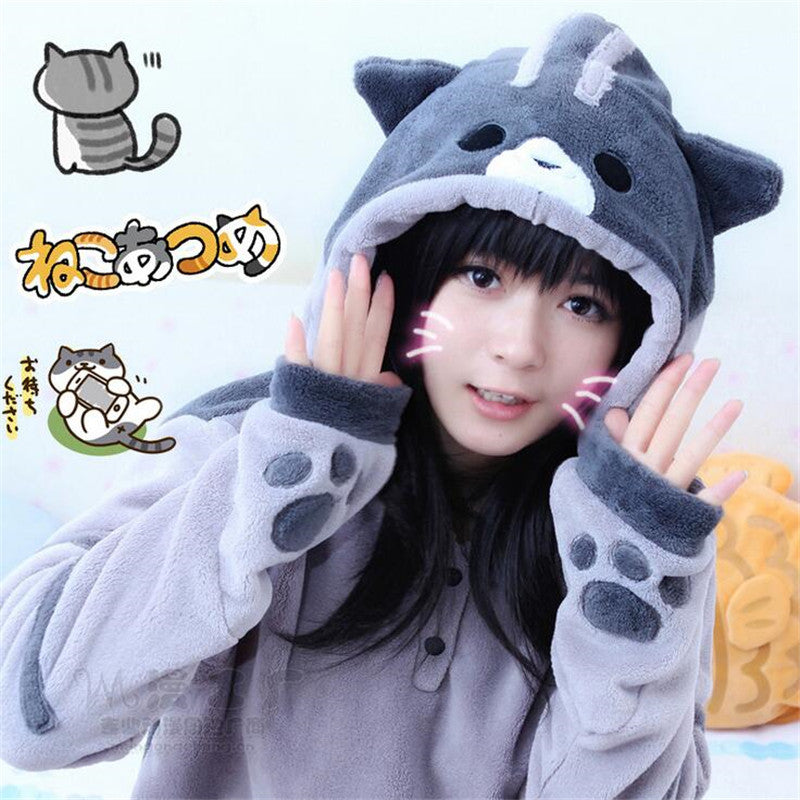 Neko Atsume Kawwii Cosplay Costume Cute Cat Hoodies Flannel Hooded Sweatershirts
