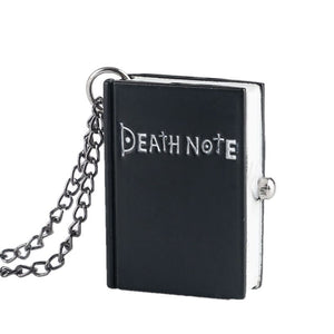 Japanese Death Note Shape Quartz Pocket Watch Necklace For Men Children Creative Cute Black Suqare Deathnote Watch