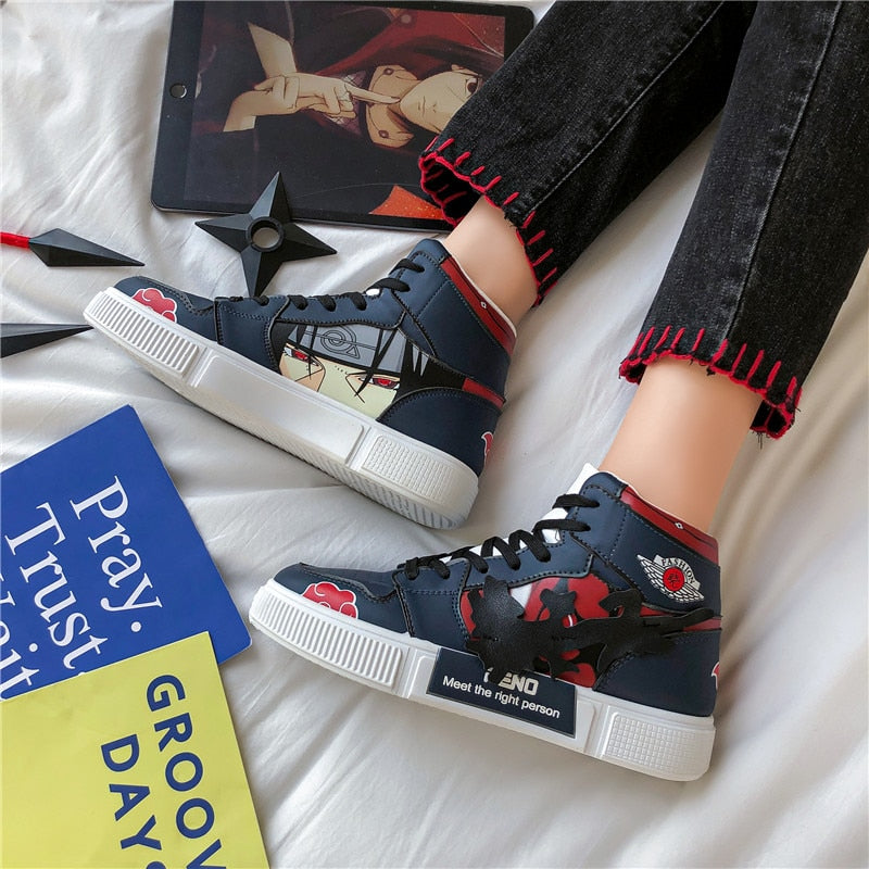 Naruto Shoes Men Anime Shoes Akatsuki Itachi Casual Shoes Sasuke Hashirama Sneakers Kakashi  Cosplay Shoes