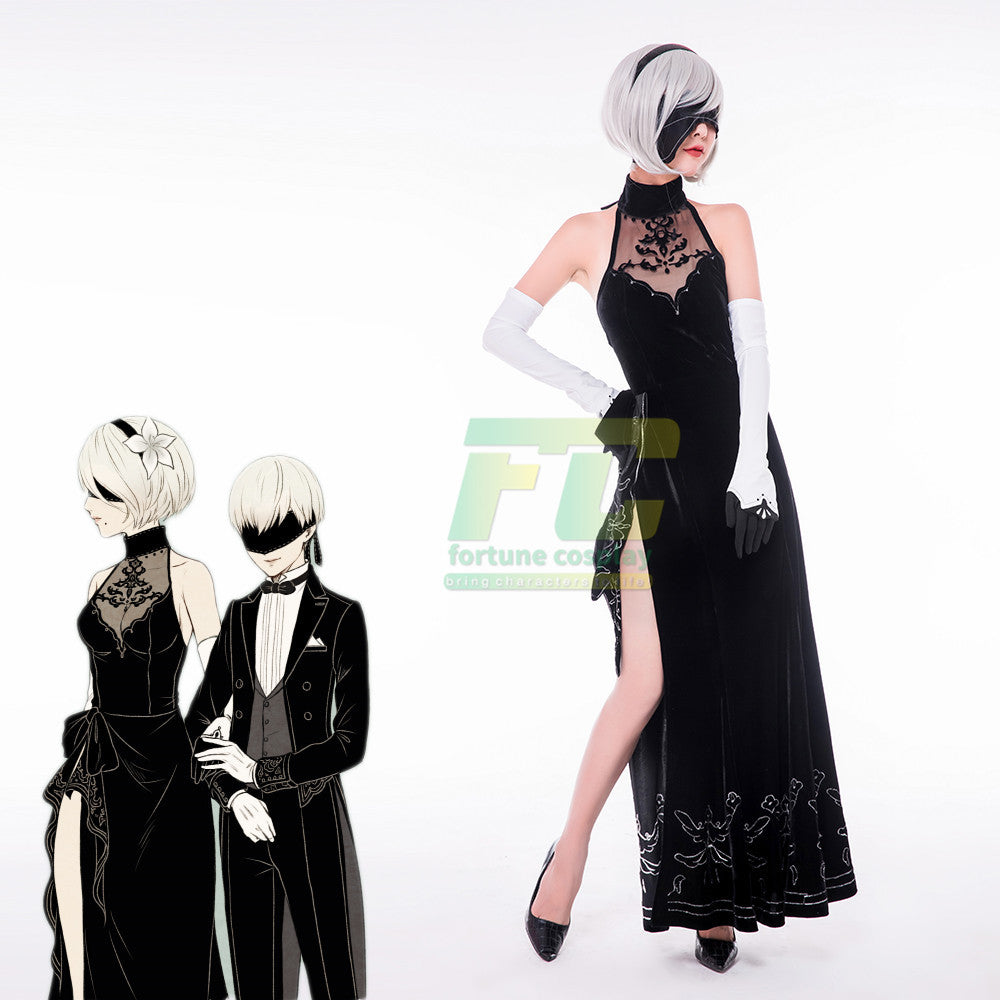 Free Shipping NieR: Automata 2B  Ballroom dancing Evening dress gown cosplay costume - fortunecosplay