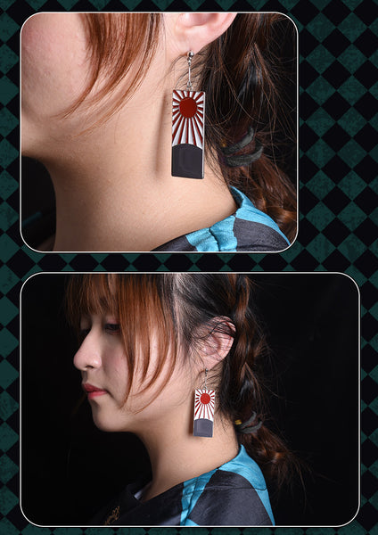 Demon Slayer Kimetsu no Yaiba Kamado Tanjirou Cosplay Earrings Ears Clip Prop
