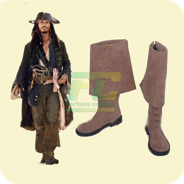 Pirates of the Caribbean Captain Jack Sparrow Cosplay Shoes Boots Custom Made