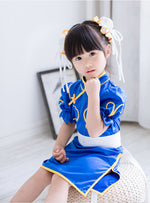 Load image into Gallery viewer, Street Fighter Chun Li Chunli Blue Dress Outfit Cosplay Costume custom Child Kid size