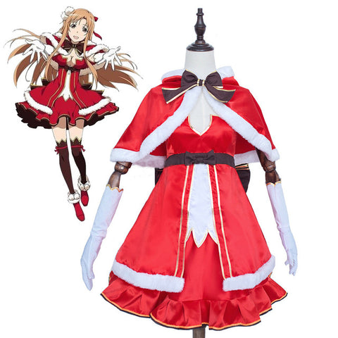 Sword Art Online Yuuki Asuna Xmas Christmas Dress Cloak Uniform Cosplay Costumes