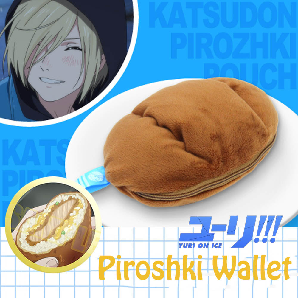 Yuri on Ice Katsu-don Plisetsky Piroshki Wallet Coin Purse Bag Cosplay