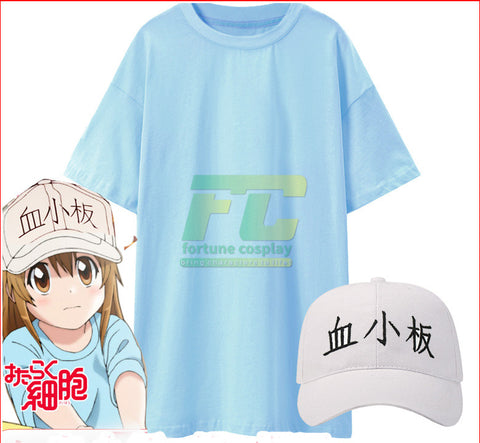 Cells at Work Hataraku Saibou Platelet Kesshoban cosplay Wig Hat Cap Costume Full Set