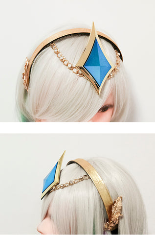 LOL the lady of Luminosity Luxanna Crownguard Cosplay Prop Headwear Accessories Light Element Skin