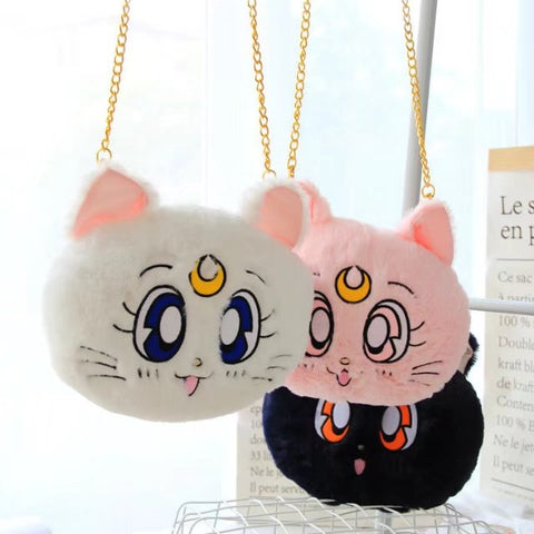 sailor moon luna cat plush should bag cosplay messenger bag