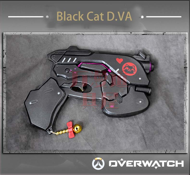 Overwatch DVA D.VA Black Cat Gun hand gun props accessories