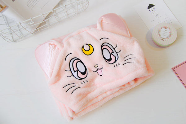 sailor moon luna cat cloak cape air conditioning blanket shawl costume cosplay