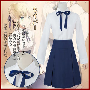 Fate/Stay Night Saber Lily Altria Pendragon Cosplay Costume Full Set Casual Uniform