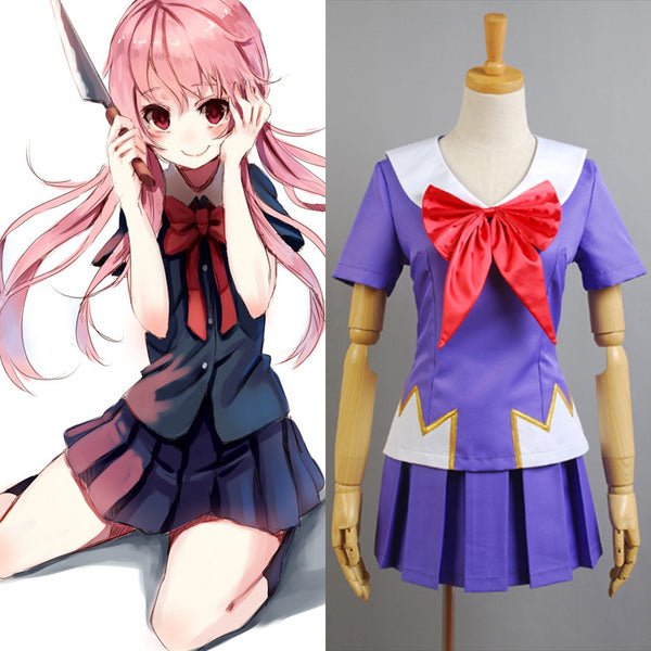 Future Diary Mirai Nikki Gasai Yuno Anime Cosplay Costume School Uniform