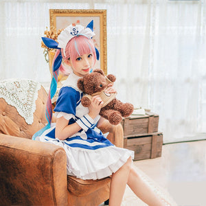 Vtuber Minato Aqua Cosplay Costume Women Cute Maid Dress Halloween Carnival Party Uniforms YouTuber Outfits Custom Made