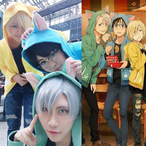 Yuri on Ice Cat Ear Hoodie Victor Katsuki Yuri Plisetsky cosplay costume