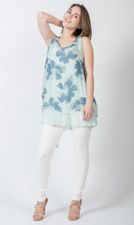 Floral printed Silk and Knit Tank