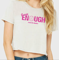 I AM Enough Cropped Flowy T-shirt