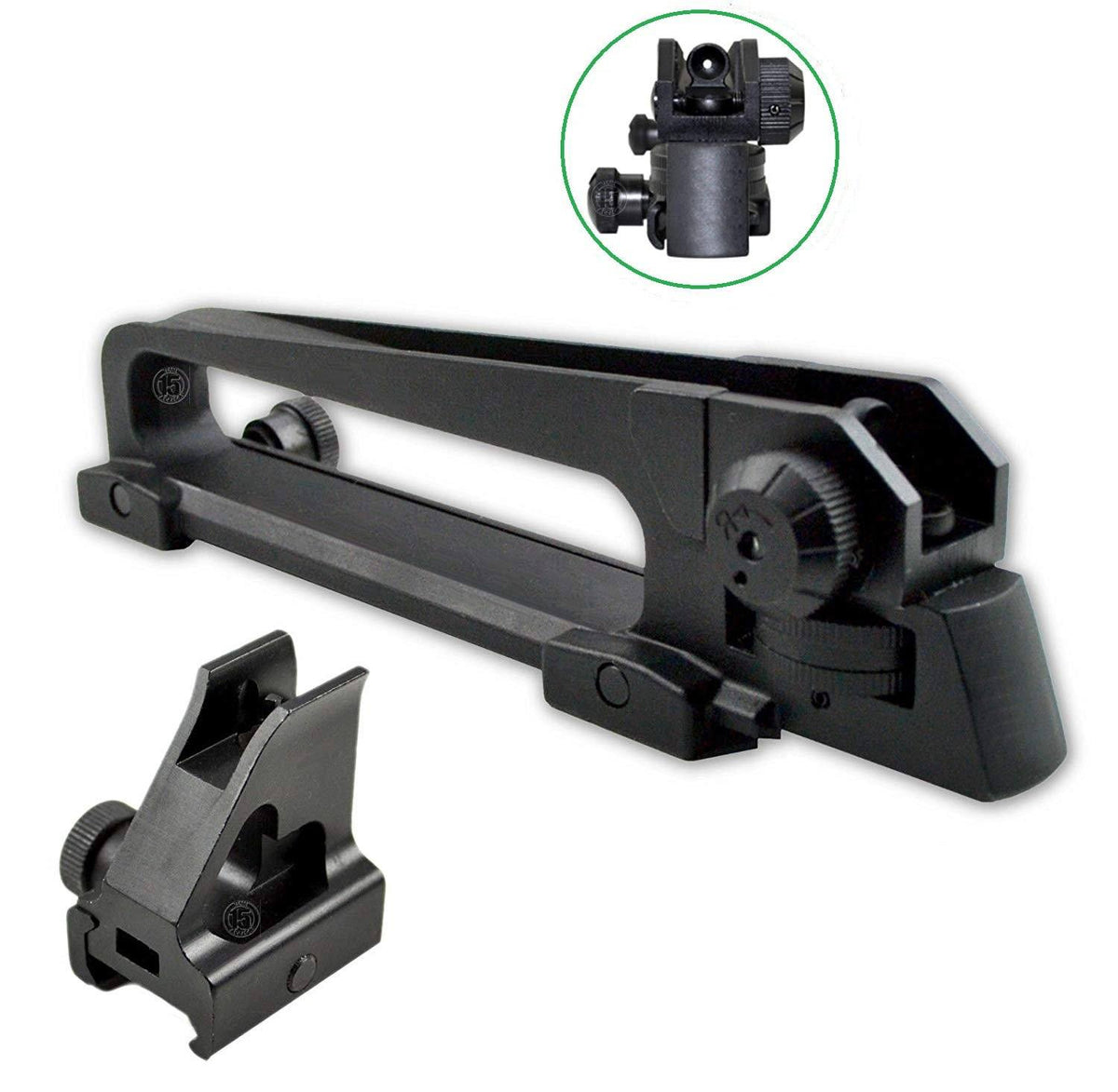 AR15 Carry Handle Sight with High Profile Front Sight for Lower Gas Block Sights GBO