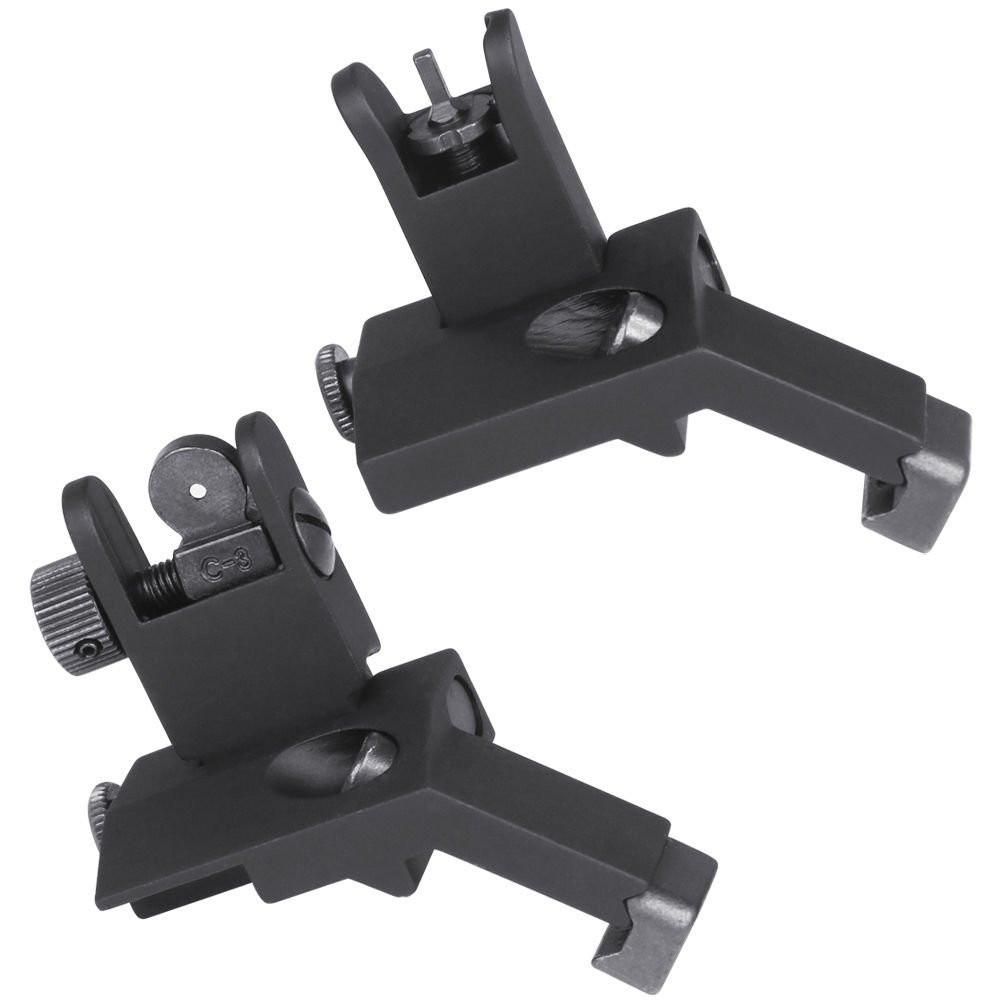 AR15 Flip Up 45 Degree Front and Rear Offset Rapid Transition Backup Iron Sights Sights Green Blob Outdoors