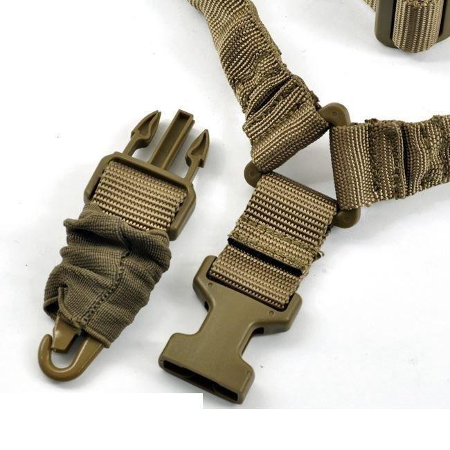 DARK EARTH SLING One Point Bungee Rifle Strap Gun Sling w QD Buckle attachment Slings & Swivels Green Blob Outdoors