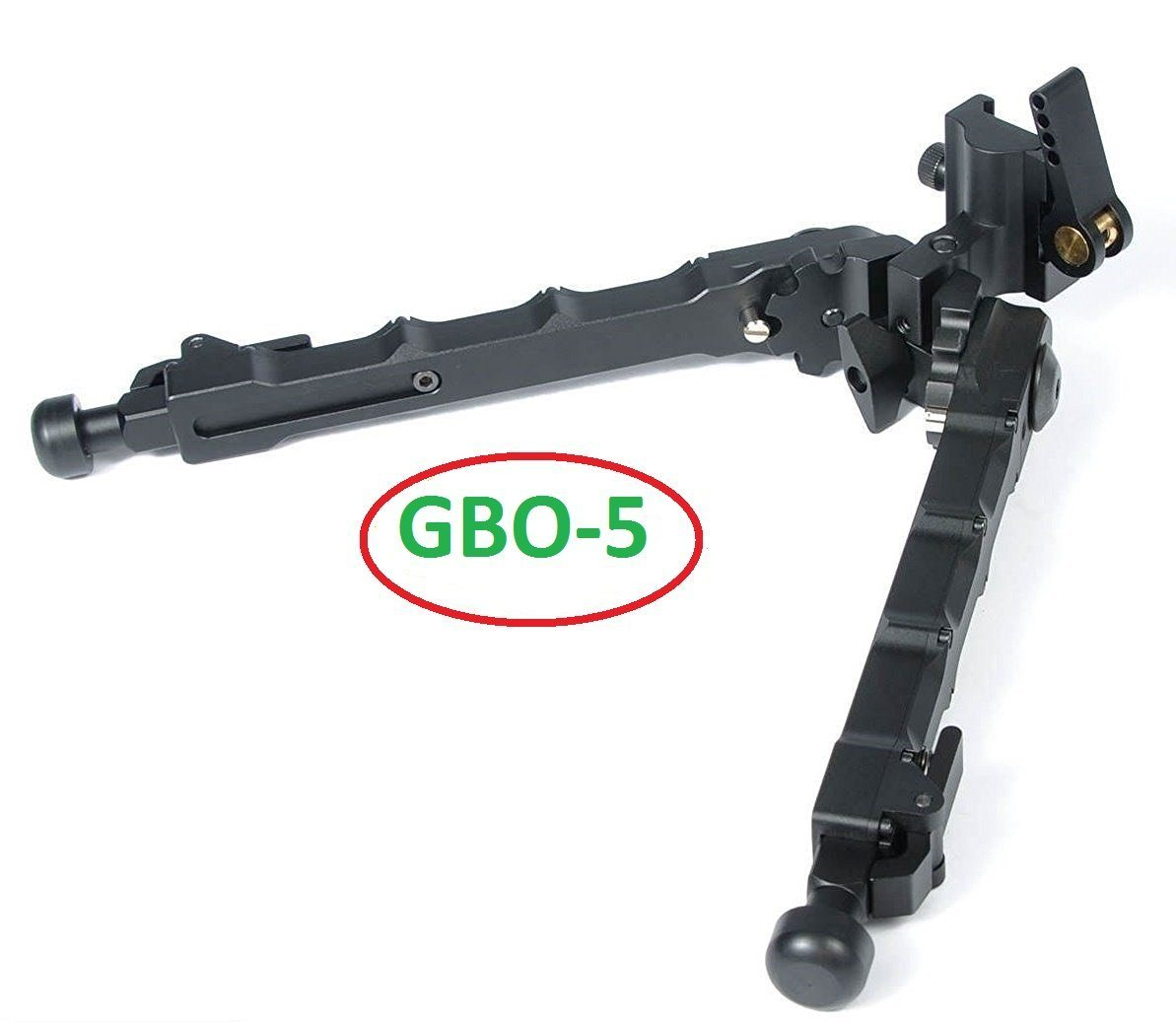 Green Blob Outdoors GBO - 5 QD Bipod Black Tactical Bipod 7.25-9 inches Quick Detachable Flat Adjustable Matte Black Bipods & Monopods Green Blob Outdoors