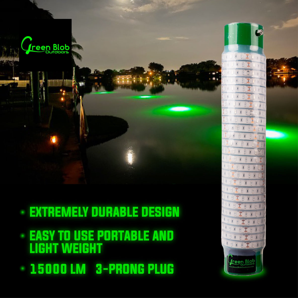 Green Blob Underwater Fishing Light 15000 Lumen for Boats w Alligator Clips, Cigarette Lighter and 30ft Cord Fishing Lights Green Blob Outdoors