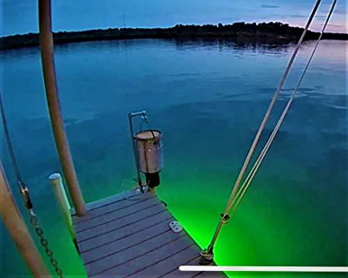Green Blob Underwater Fishing Light 7500 Lumen for Boats includes Alligator Clips & Cigarette Lighter w/ 30ft Cord, GPS or Navigation System Green Blob Outdoors