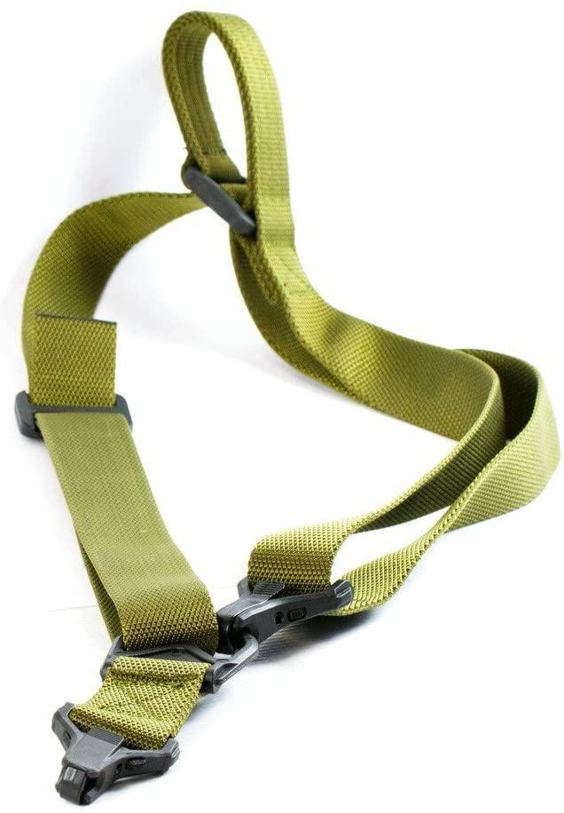 M4 M16 Green Tactical 2 Point Rifle Sling with Paraclips Slings Green Blob Outdoors