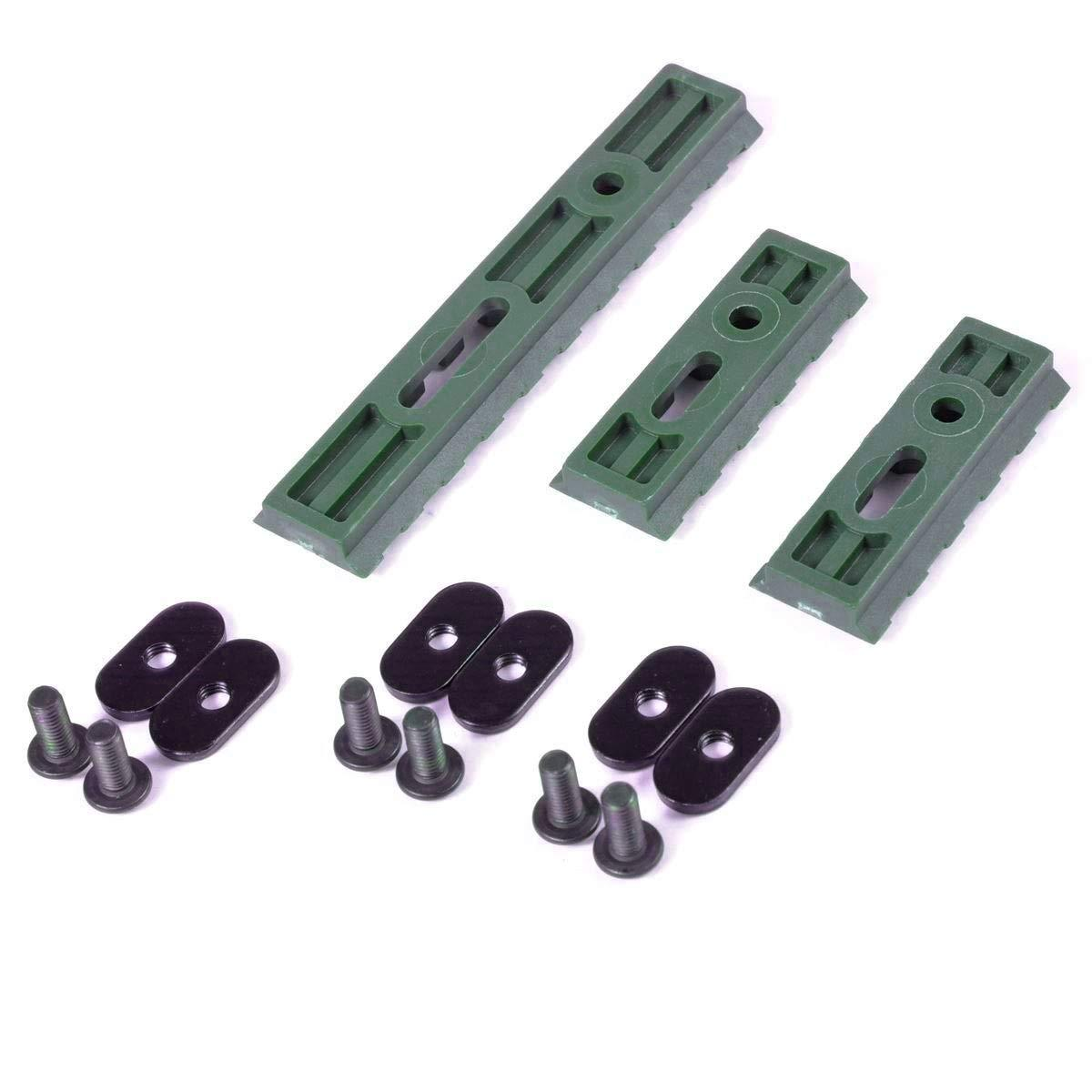 Olive Drab Green Slotted Polymer Picatinny Rail Set for Handguards Rails Green Blob Outdoors