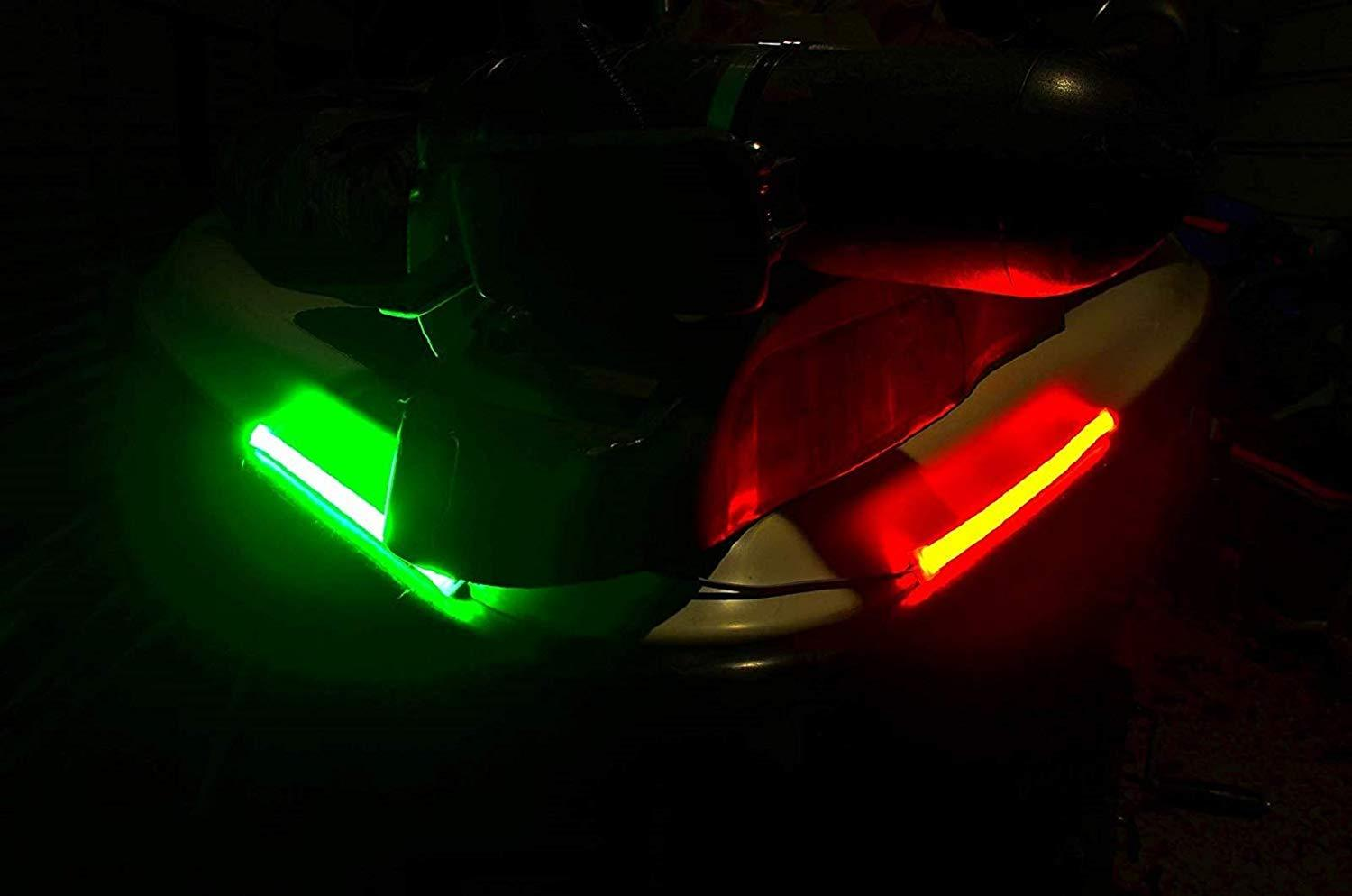 Pimp My Boat Neon Navigation LED Light Strips Red & Green for Bass Boats, Pontoons, Wave Runners, Kayaks, and Ski Boats Boat Lights Green Blob Outdoors