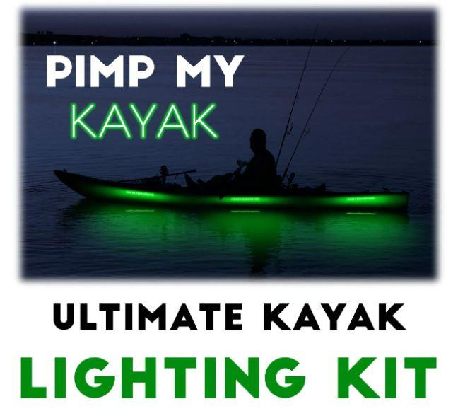 Pimp My Kayak - LED Lighting DIY Kit - 30,000 Lumens - Includes Red & Green Navigation Lights Pimp My Kayak Green Blob Outdoors