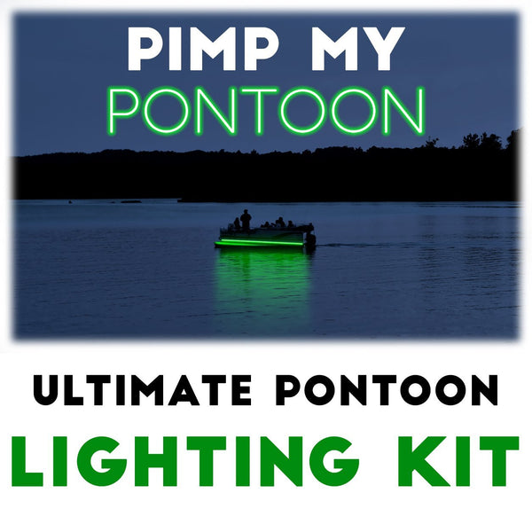 Pimp My Pontoon - Green LED Under Deck Lighting DIY Kit - 30,000 Lumens - Includes Bonus Red & Green Navigation Lights Pimp My Boat Green Blob Outdoors