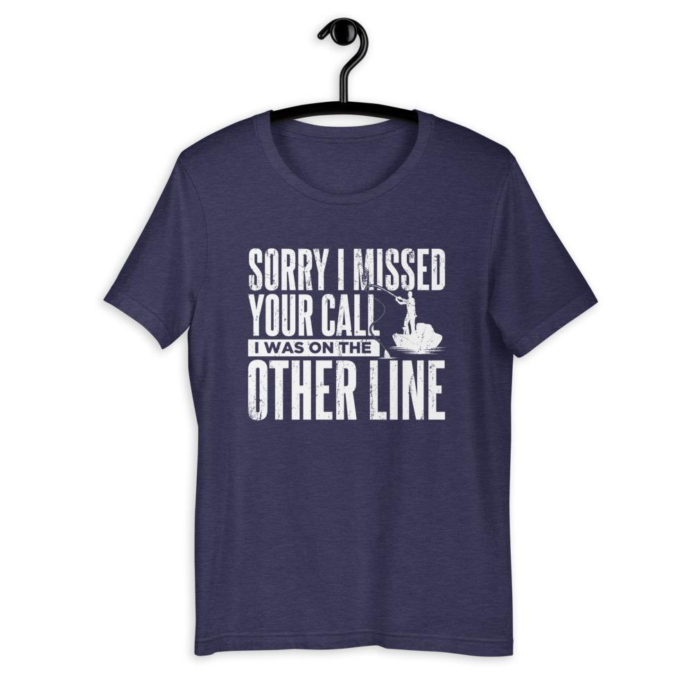 Sorry I Missed Your Call, I Was On The Other Line T-Shirt Green Blob Outdoors Heather Midnight Navy S