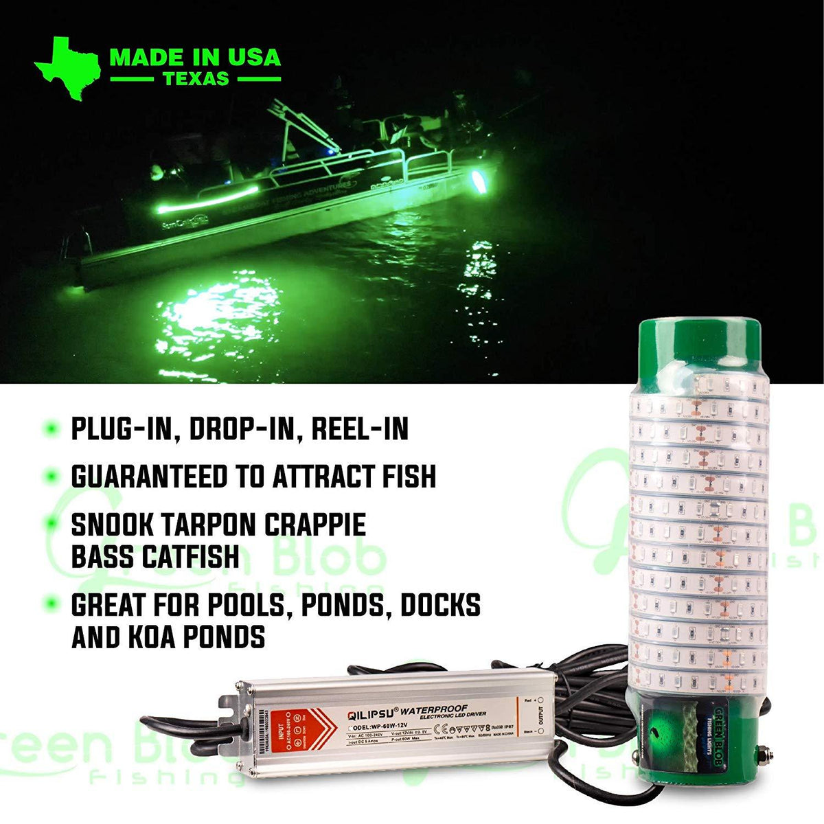 White Blob Underwater Dock Fishing Light 7500 Lumen w 110v AC adapter and 3 prong plug Fishing Lights Green Blob Outdoors