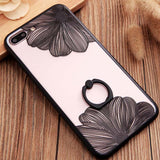 New Luxury Flower Phone Case For iPhone 7 Plus Lace Metal Ring Holder Stand