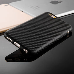 Black White Carbon Fiber Soft Case For Iphone 6 6S 4.7 / Plus 5.5 Silicone Leath