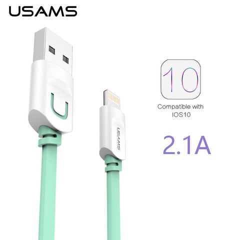 For IPhone Cable IOS 10 9 USAMS 2.1A Fast Charging 0.25m 1m 1.5m Flat Usb