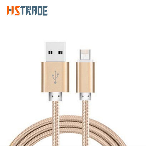 HSTRAOE 2.4A 2 in 1 Micro USB Cable Metal Nylon USB Charger Cable for iPhone 7 6