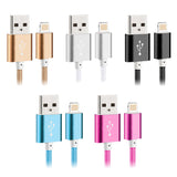 New 1.5M Mobile Phone Cable Nylon Braided Metal Plug Micro USB Charger Cables fo