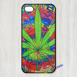 Psychodelic Weed Cannabis Marijuana Pot Leaf case cover for iPhone 4 5 6 7 & plus