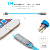Rocketek 2-in 1 micro usb cable for android charger Converter usb cable for iphone 5 5s 6s 7 plus i6 ipad Mobile Phone Cable